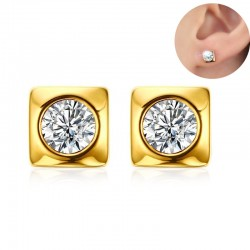 Round crystal stud gold square earrings