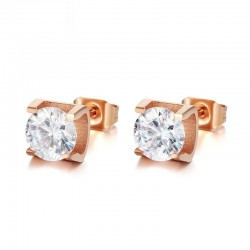 Elegant crystal & rose gold stud earrings