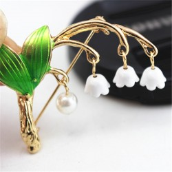 Lily of the valley & pearl - brooch