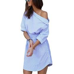 Plus size off shoulder striped dress