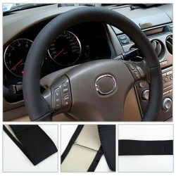 Leather car steering wheel cover