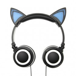 LED cat ears foldable gaming headset headphones