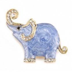 Enamel & crystals elephant - brooch