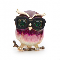 Owl with glasses brooch