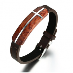 Retro rosewood genuine leather bracelet