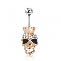 Skull skeleton belly button ring piercing
