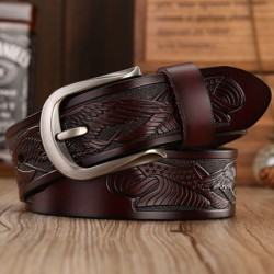 Handcrafted eagle leather belt