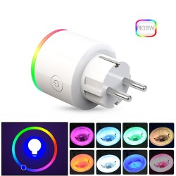 Wifi plug with power monitor - 16A EU RGB - wireless smart socket with voice control for Google Home Alexa