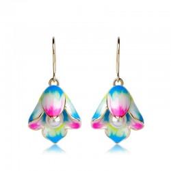 Porcelain flowers & pearl - long drop earrings