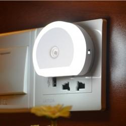 LED dual USB charger plug with sensor light