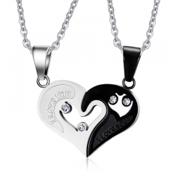 I Love You - heart - stainless steel pendant with necklace - 2 pieces