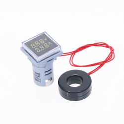 AC 60-500V 0-100A - LED voltmeter square digital dual display - voltage gauge - measurement meter