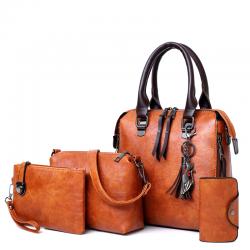 Luxury leather bag set incl purse 4 pcs
