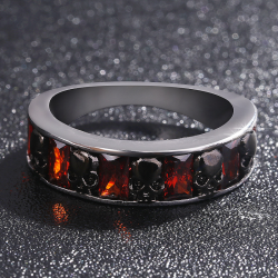 Crystal red retro gothic ring with skulls - unisex