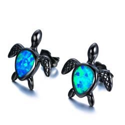Turtle with blue opal - fashion earrings