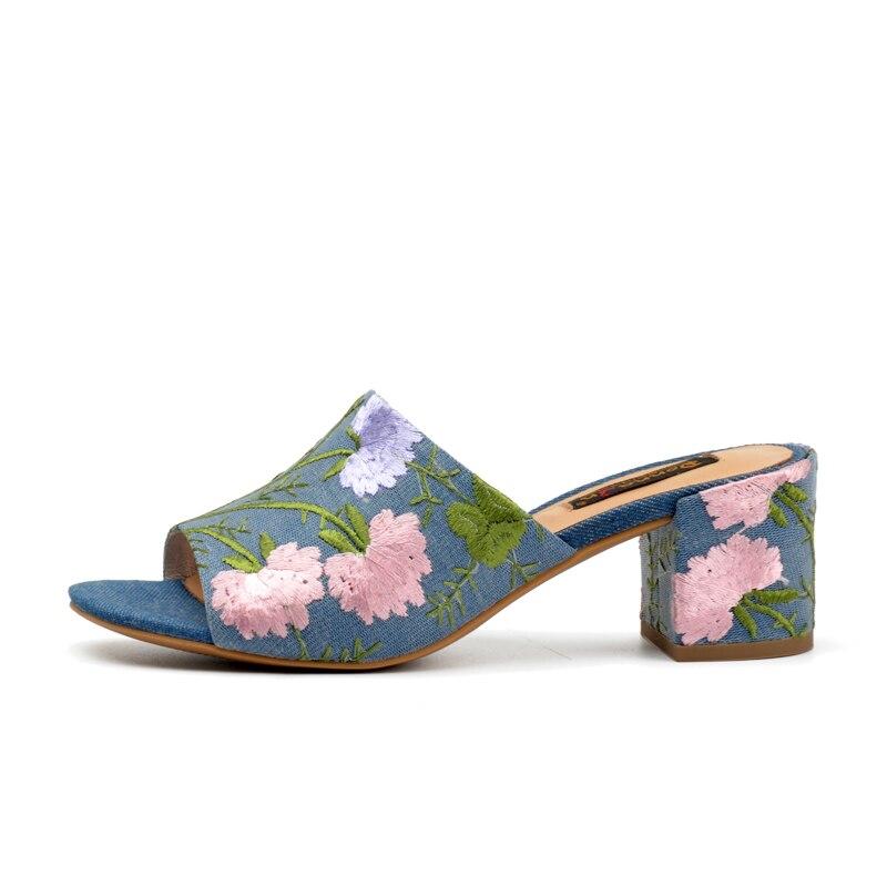 Summer flip flops with floral print - sandals