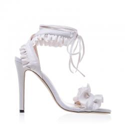 Cross lace up high heel sandals