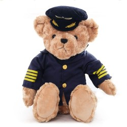 Pilot teddy bear - flight attendant bear- 25 cm