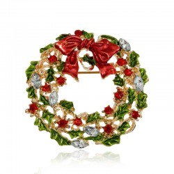 Christmas mistletoe wreath - brooch