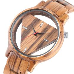 Geometric triangle - wooden Quartz watch - unisex