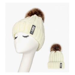 Warm winter wool hat with pom pom