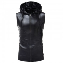 Shiny metallic hoodie - sleeveless vest