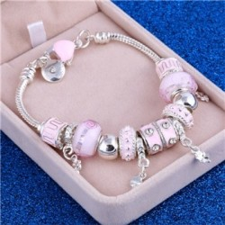 Crystal silver bracelet with beads