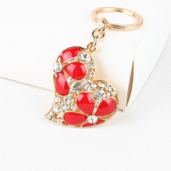 Crystal heart with red flowers - keychain