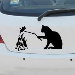Cat with mouse - 3D vinyl car sticker