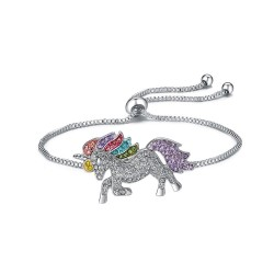 Crystal unicorn - silver & gold bracelet